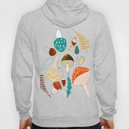 Mushrooms and leaves in autumn Hoody
