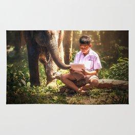 A Boy and His Elephant Rug