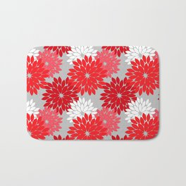 Modern Floral Kimono Print, Coral Red and Gray Bath Mat