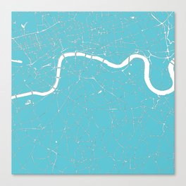 London Turquoise on White Street Map Canvas Print
