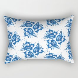 Vintage shabby Chic Seamless pattern with blue flowers and leaves. Vector Rectangular Pillow