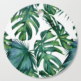 Classic Palm Leaves Tropical Jungle Green Cutting Board