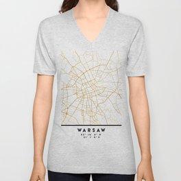 WARSAW POLAND CITY STREET MAP ART Unisex V-Neck