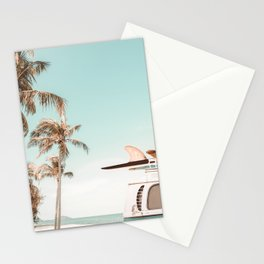 Retro Camper Van with Surfboard at the Beach Stationery Cards