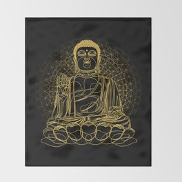 Golden Buddha on Black Throw Blanket