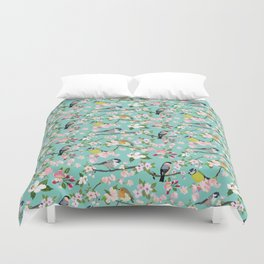 Blossom and Birds Turquoise Print Duvet Cover