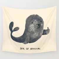 budi satria kwan Wall Tapestries featuring Seal Of Approval by Picomodi