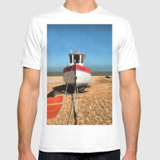 Dungeness Fishing Boat White MEDIUM Mens Fitted Tee