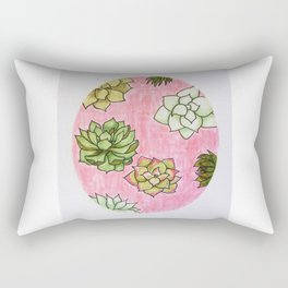 Succulent Plant Pattern — Succulents in Pink Oval Design Rectangular Pillow