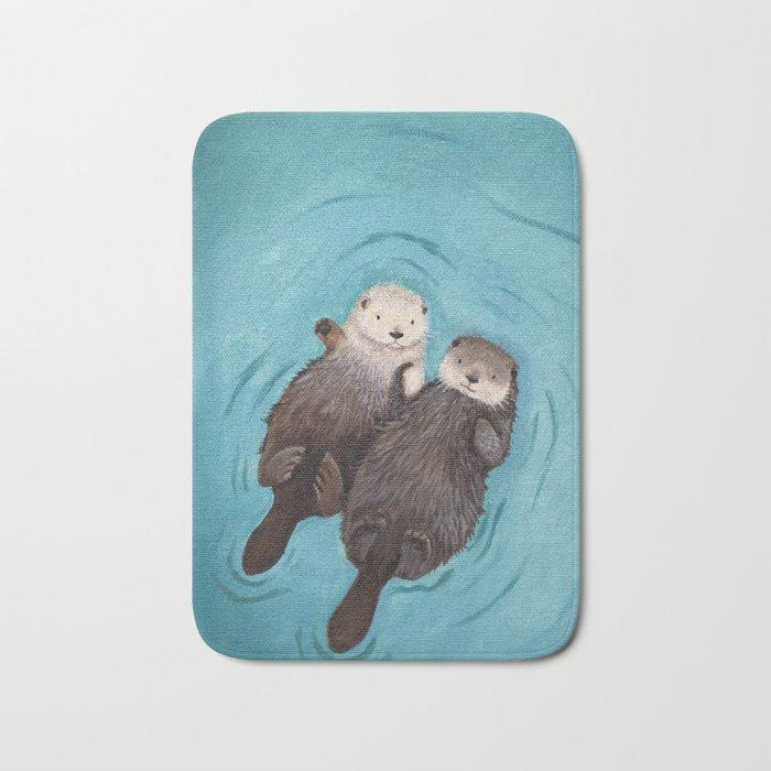 Otterly Romantic - Otters Holding Hands Bath Mat