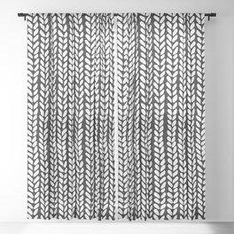 Knit Wave Black Sheer Curtain