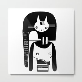 CAT ON DOG HEAD Metal Print