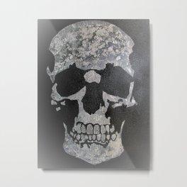 Diamond teeth silver skull Metal Print