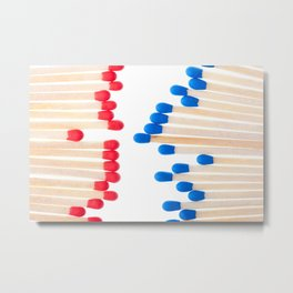 Many red and blue unused wooden matches Metal Print