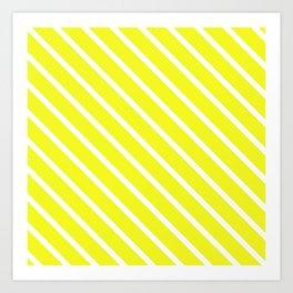 Lemon Curd Diagonal Stripes Art Print