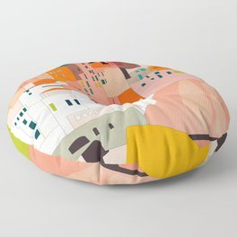 italy coast houses minimal abstract painting Floor Pillow