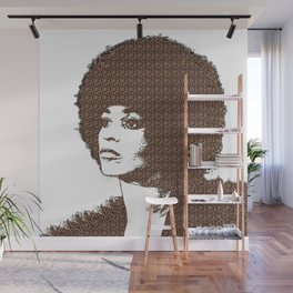 Angela Davis - White Background Wall Mural