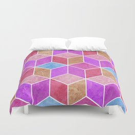 Purple and Pink Geometric Hexagons Digital Pattern Duvet Cover
