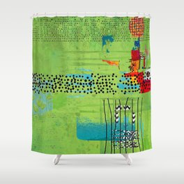 Red and Green Abstract Art Collage Shower Curtain