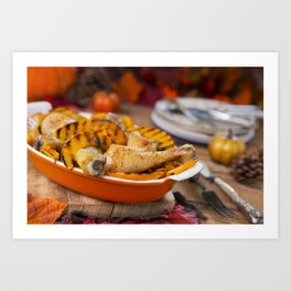 II - Oven roasted chicken with grilled pumpkin on a rustic table Art Print