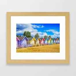 Pastel Beach Huts Framed Art Print
