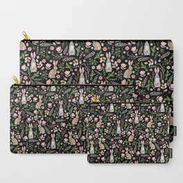 Cute rabbits. Black pattern Carry-All Pouch
