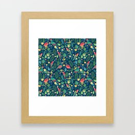 Parrots Blue Pattern Framed Art Print