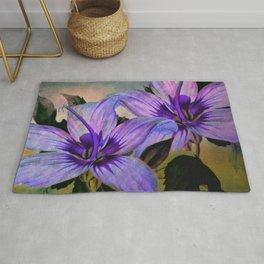 Vintage Painted Lavender Lily Rug