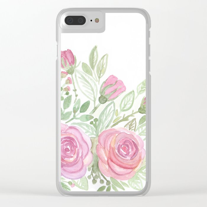 Watercolor . A bouquet of roses . Clear iPhone Case
