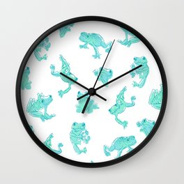 Froggy Frog large white teal Wall Clock