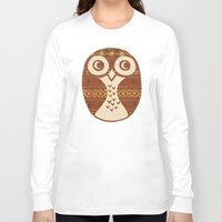 navajo Long Sleeve T-shirts featuring Navajo Owl  by Terry Fan