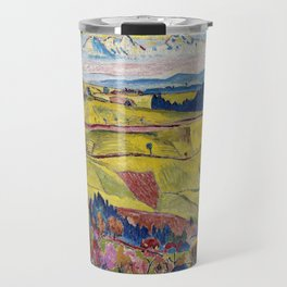 Chamonix Valley and Snow-capped French Alps landscape by Cuno Amiet Travel Mug