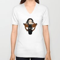 katniss V-neck T-shirts featuring Kokeshi Katniss by Pendientera
