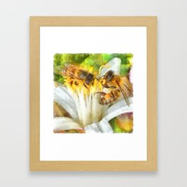 Bees and Flowering Plants Watercolor Framed Art Print