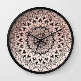 Boho black watercolor floral mandala rose gold glitter ombre pastel blush pink Wall Clock