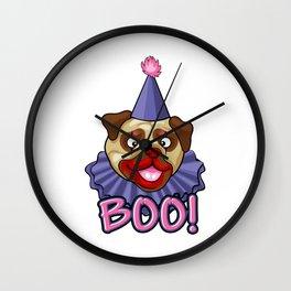 Clown Pug Halloween Joker Makeup Cute Brown Pug Light Wall Clock