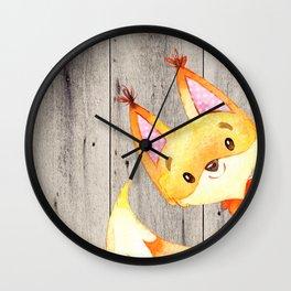 Woodland Friends - Little Fox In Forest Wall Clock