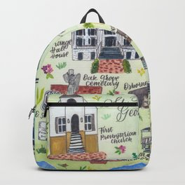 """Downtown St. Marys, GA"" Watercolor Map Backpack"