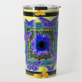 PURPLE BUTTERFLIES SUNFLOWERS MODERN ART Travel Mug