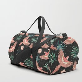 Pink macaw parrots on the starry night sky Duffle Bag