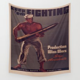 Vintage poster - Keep 'Em Fighting Wall Tapestry