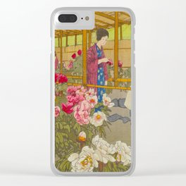 Tokugawa Peony Garden Hiroshi Yoshida Vintage Japanese Woodblock Print Clear iPhone Case