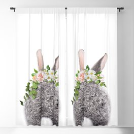Bunny Tail, Grey Baby Rabbit, Bunny With Flower Crown, Baby Animals Art Print By Synplus Blackout Curtain