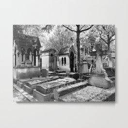 Père Lachaise Cemetery in Black and White, Paris France Metal Print