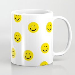 Smiley faces white yellow happy simple smiley pattern smile face kids nursery boys girls decor Coffee Mug