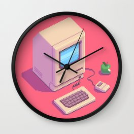 Retro Macintosh - pixel art by Romain Courtois Wall Clock