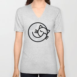 Sleeping white grey cat Unisex V-Neck