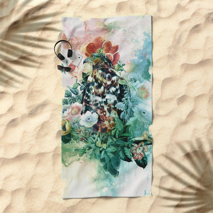 Bird in Flowers Beach Towel