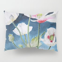 Papaver Somniferum and Amethyst Crystal on a Stary Night at Dawn Pillow Sham