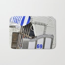 Beachchair No. 69 - Baltic Sea - Warnemuende Bath Mat